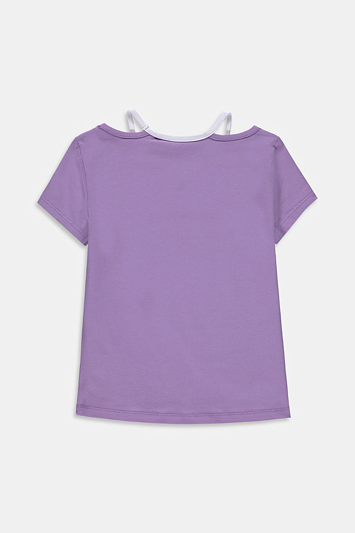 Print T-shirt with cut-outs, LAVENDER, detail image number 1