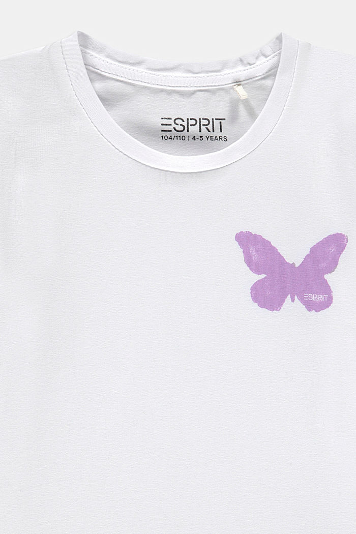 T-shirt z nadrukiem motyli, WHITE, detail image number 2