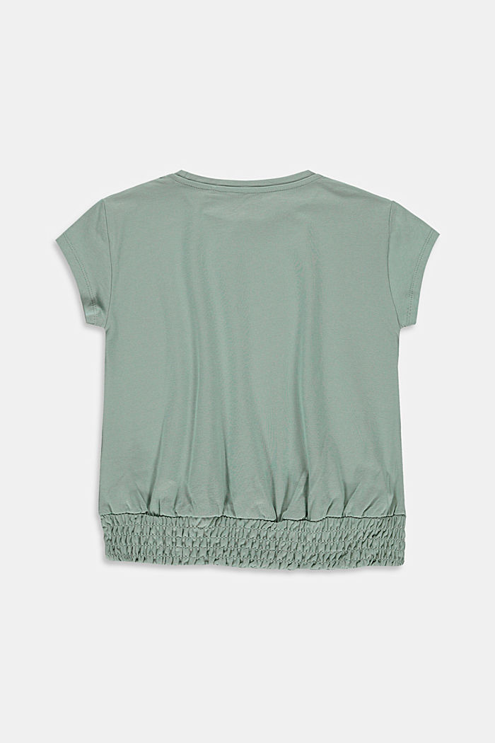 T-shirt with smocked hem, KHAKI GREEN, detail image number 1