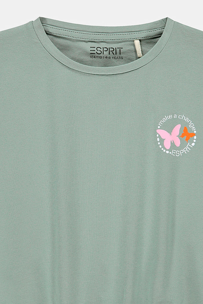 T-shirt with smocked hem, KHAKI GREEN, detail image number 2