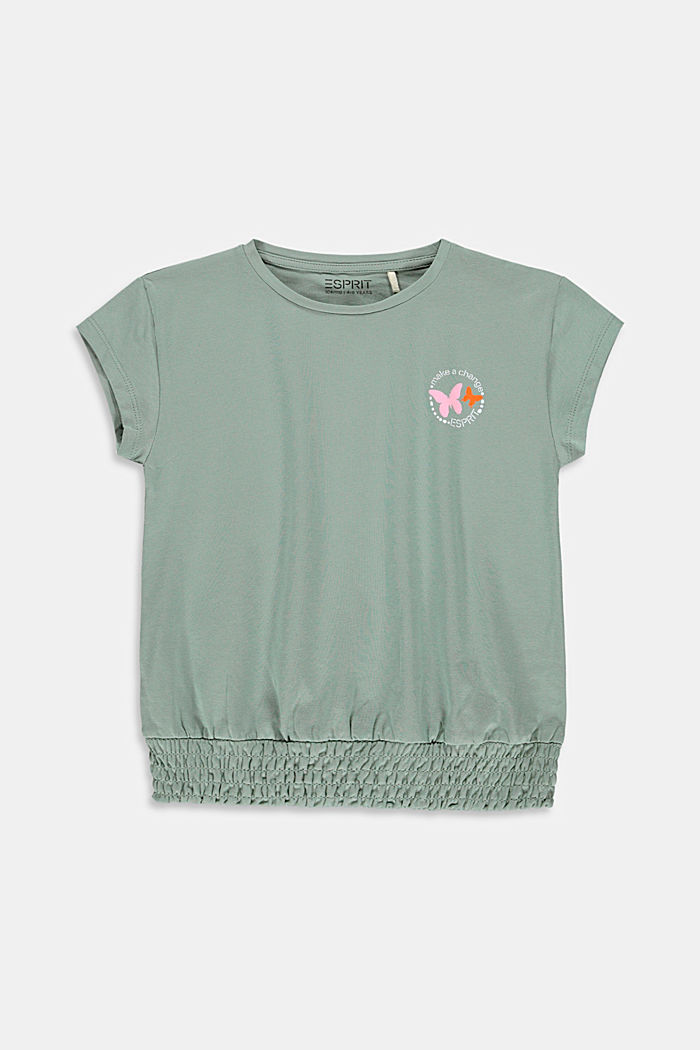 T-shirt with smocked hem, KHAKI GREEN, detail image number 0