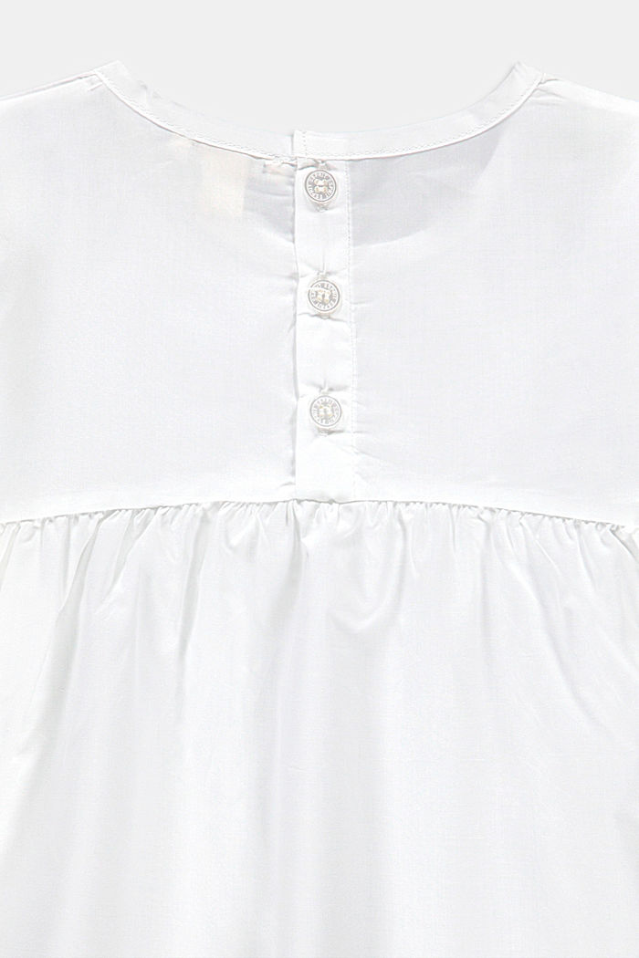 A-line blouse with border, 100% cotton, WHITE, detail image number 2