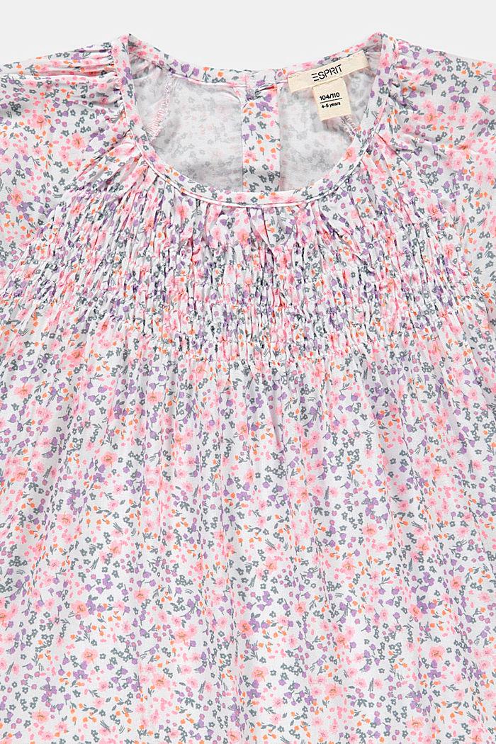 Blusa con fruncido y estampado, WHITE, detail image number 2