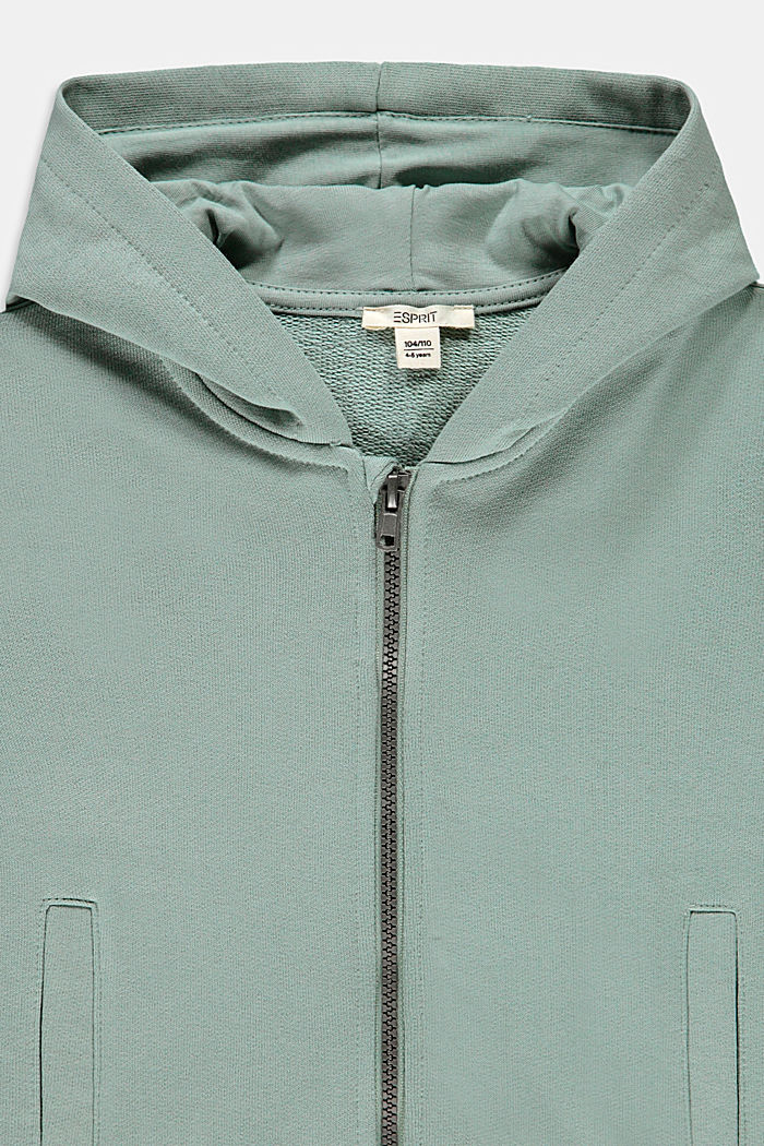 Sweat jacket with a print, 100% cotton, KHAKI GREEN, detail image number 2