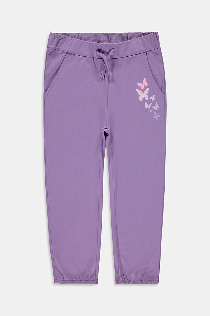 Jersey trousers in a tracksuit bottom style with a print, LAVENDER, detail image number 0