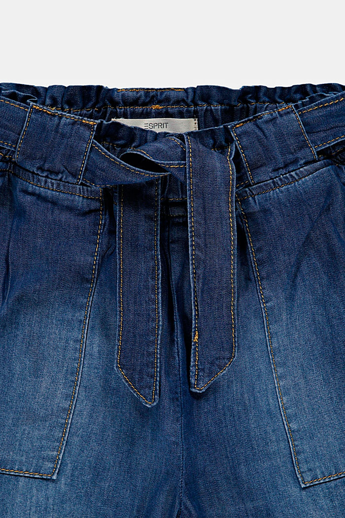 Paper bag shorts with belt, BLUE MEDIUM WASHED, detail image number 2