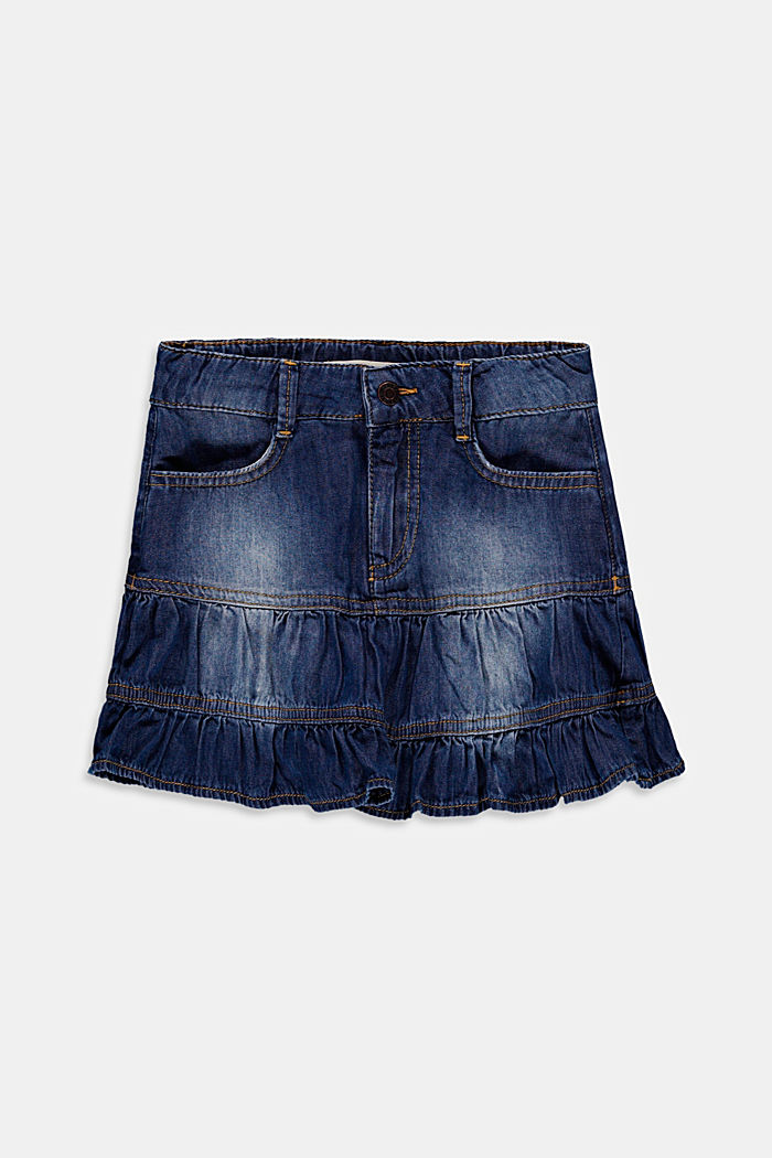 Denim flounce skirt made of cotton lyocell, BLUE MEDIUM WASHED, detail image number 0