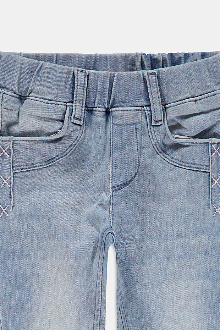 Jeggings with an elasticated waistband, BLUE BLEACHED, detail image number 2