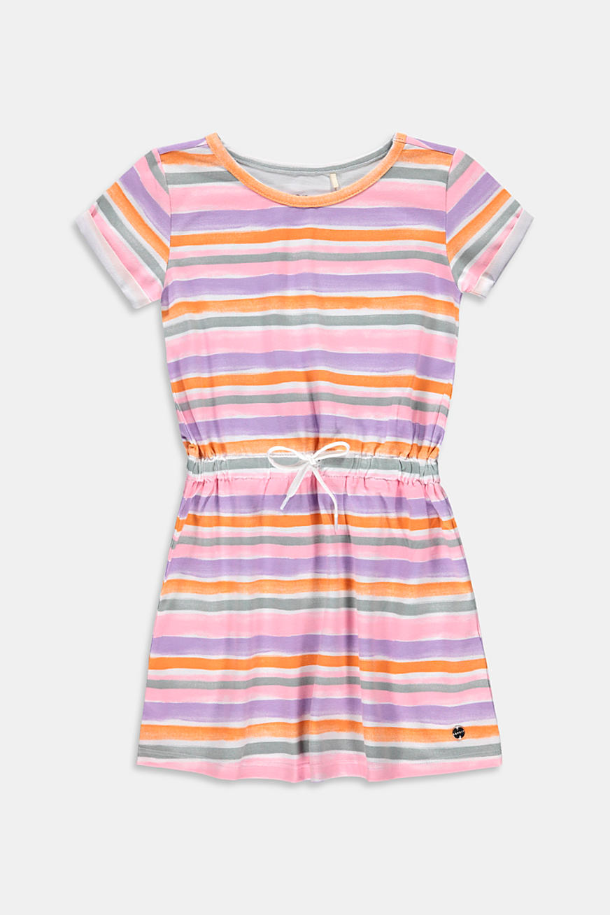 Jersey dress with watercolour stripes