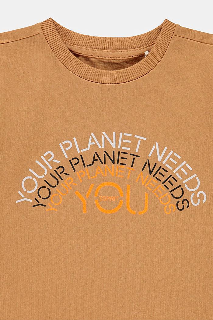 T-shirt van 100% katoen met print, CARAMEL, detail image number 2
