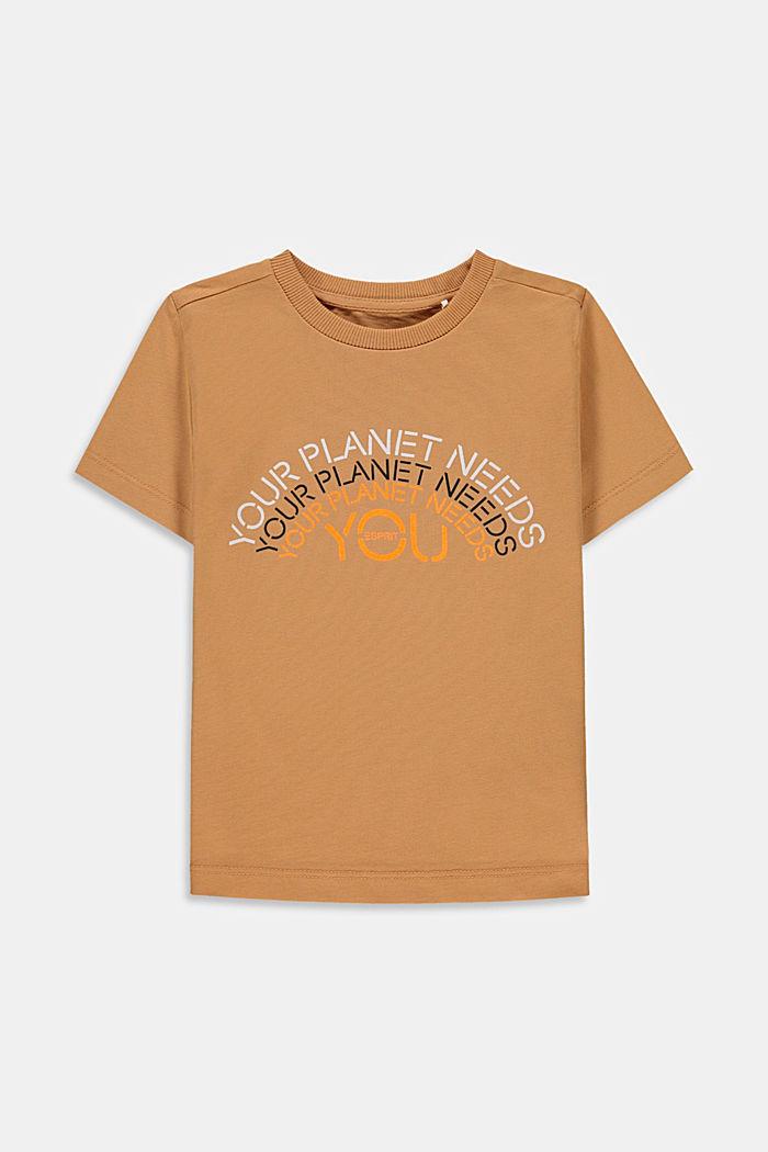 T-shirt van 100% katoen met print, CARAMEL, detail image number 0
