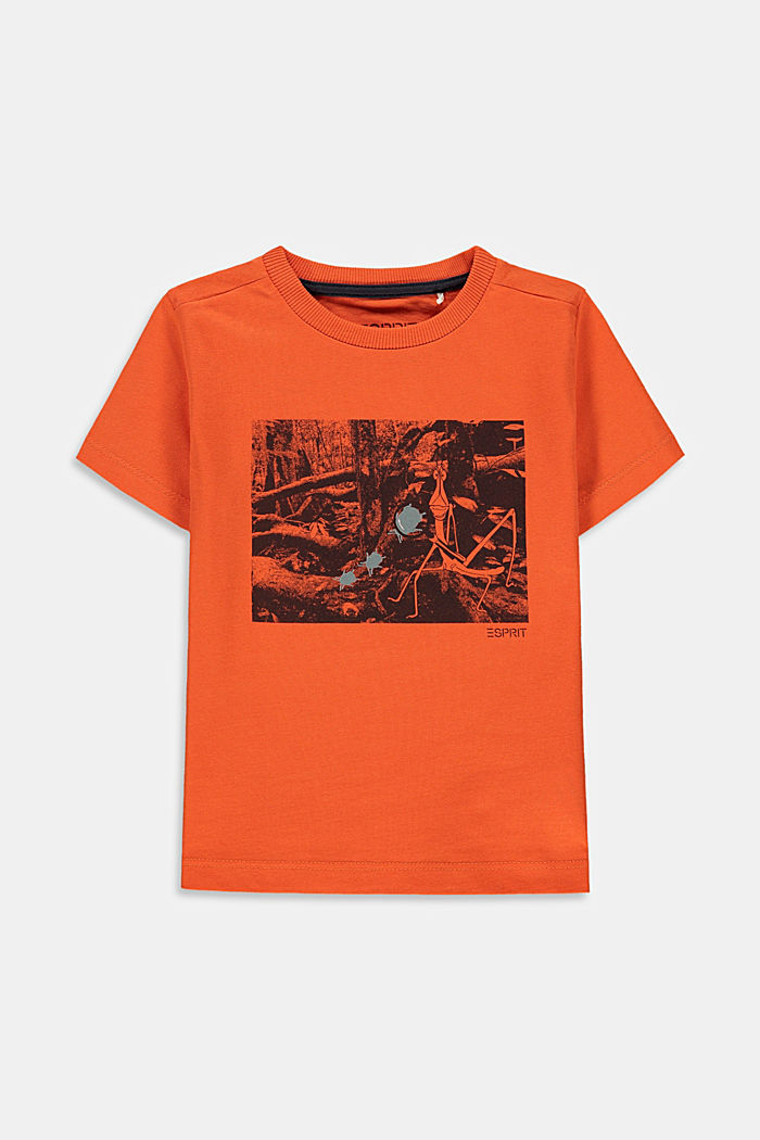 Printed T-shirt made of 100% cotton, RED ORANGE, overview