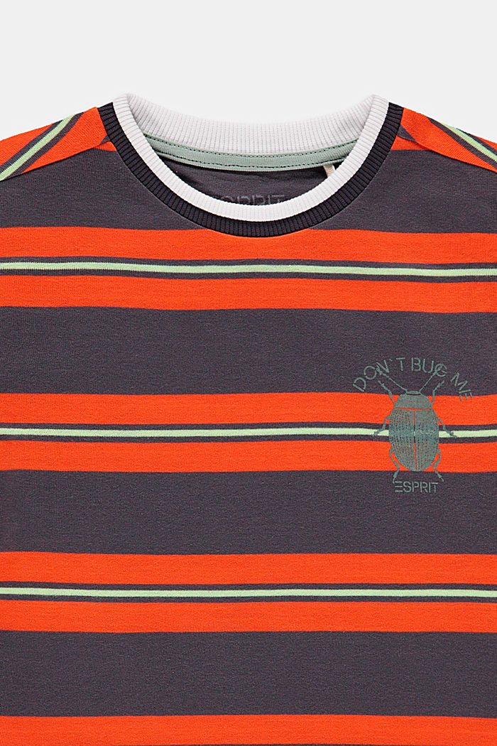 Striped T-shirt with a beetle print, DARK GREY, detail image number 2