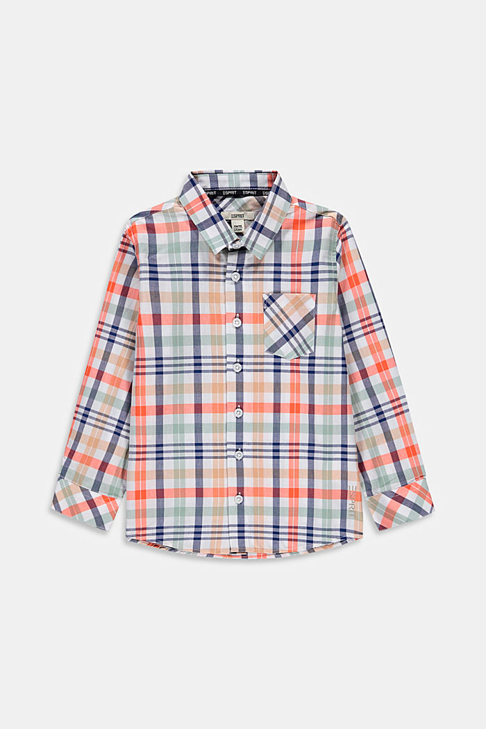 Check shirt in 100% cotton, WHITE, overview