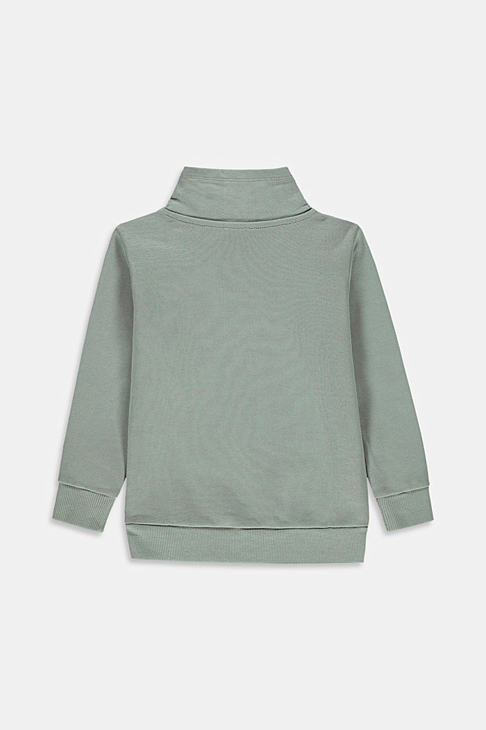100% cotton sweatshirt with a stand-up collar, LIGHT KHAKI, detail image number 1