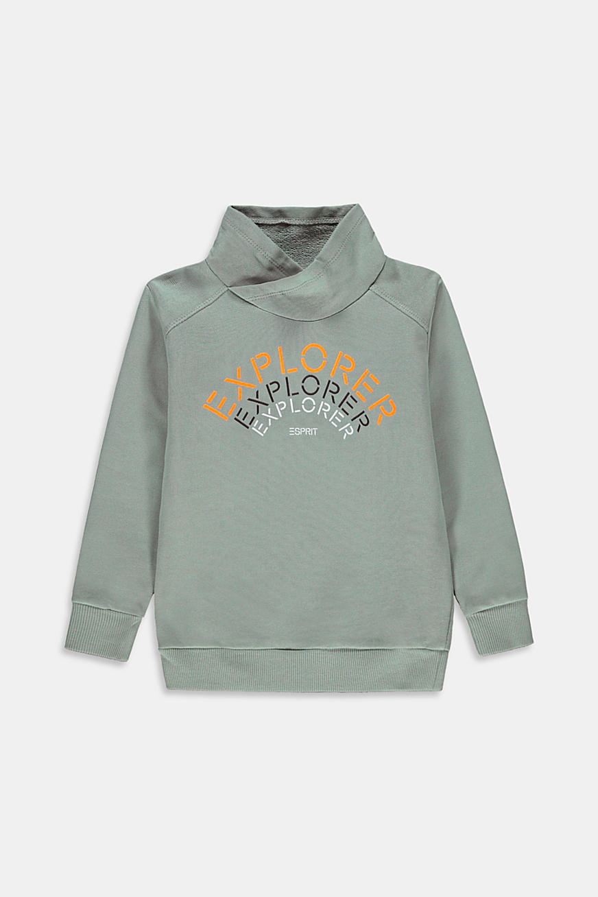 100% cotton sweatshirt with a stand-up collar