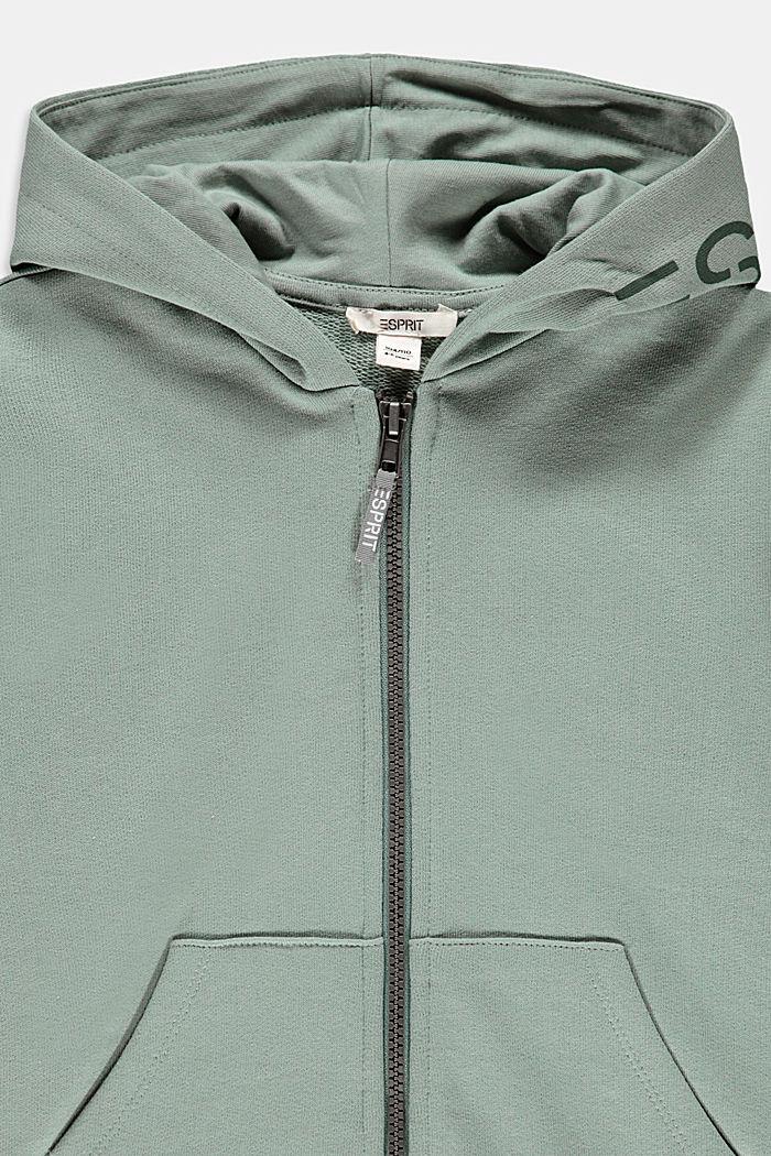 Logo-Sweat-Cardigan aus 100% Baumwolle, LIGHT KHAKI, detail image number 2