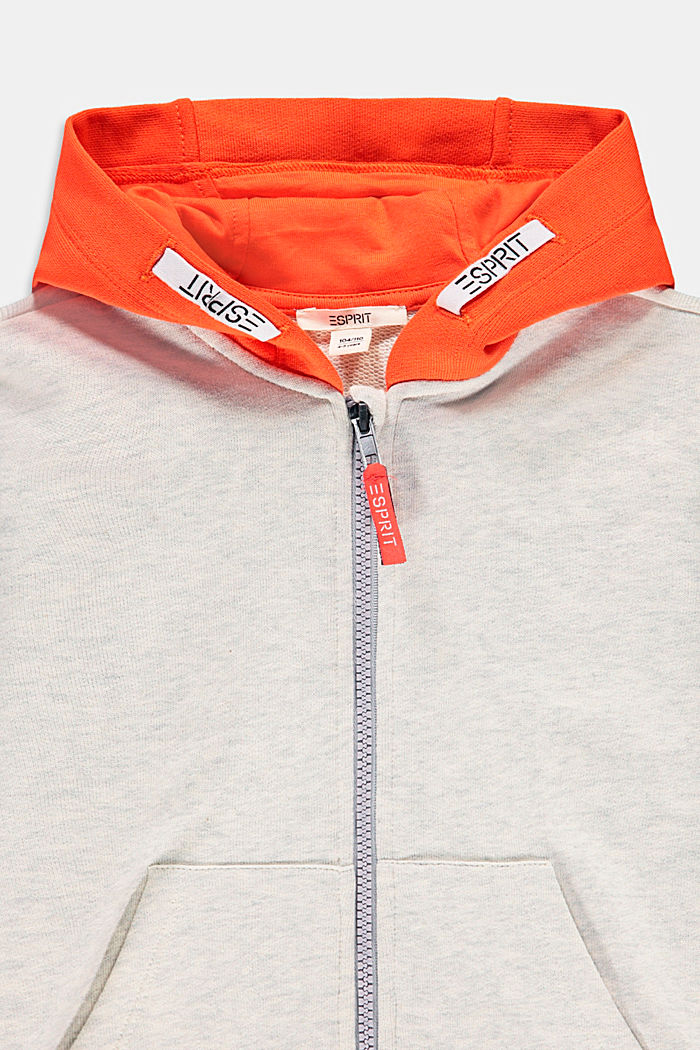 Zip-up hoodie made of 100% cotton, SILVER, detail image number 2