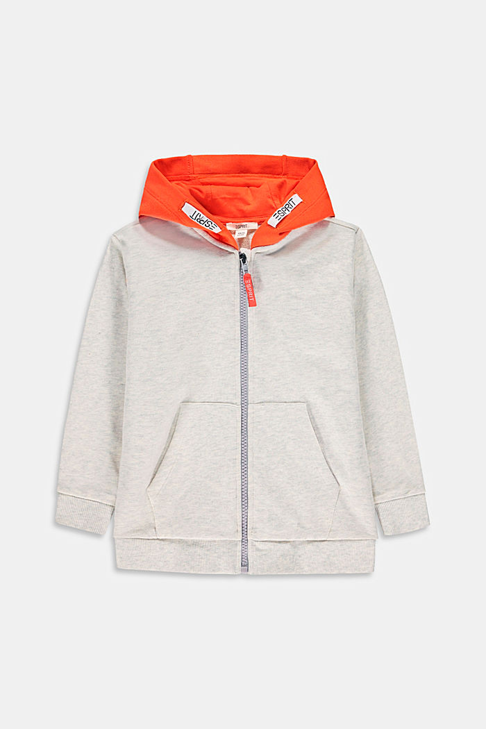 Zip-up hoodie made of 100% cotton, SILVER, detail image number 0