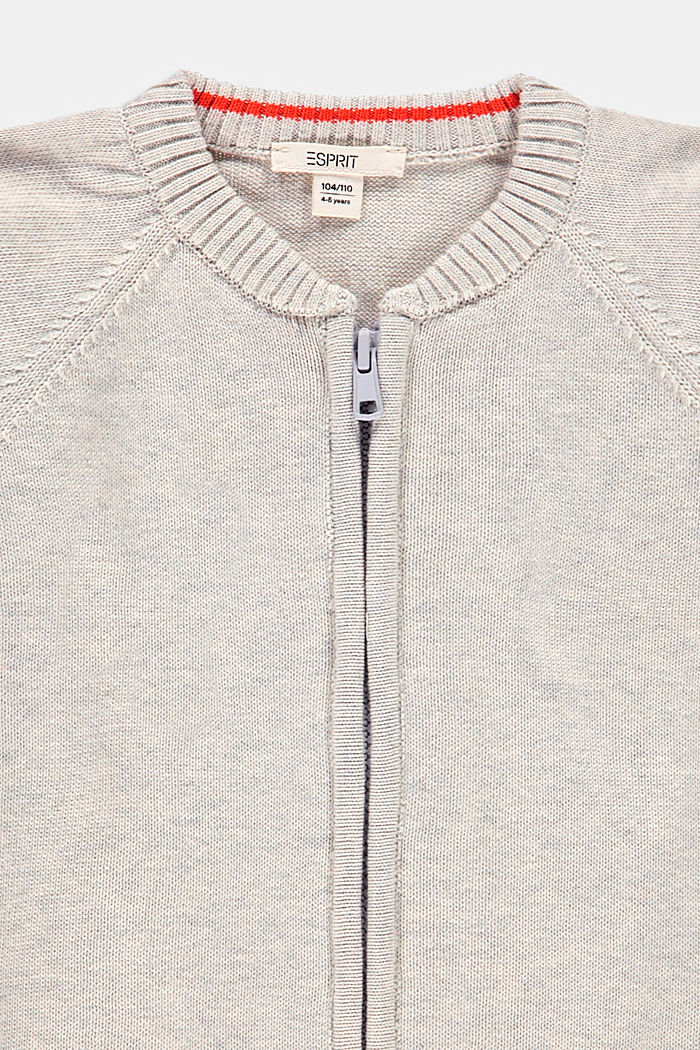 Zip-up cardigan made of 100% cotton, SILVER, detail image number 2