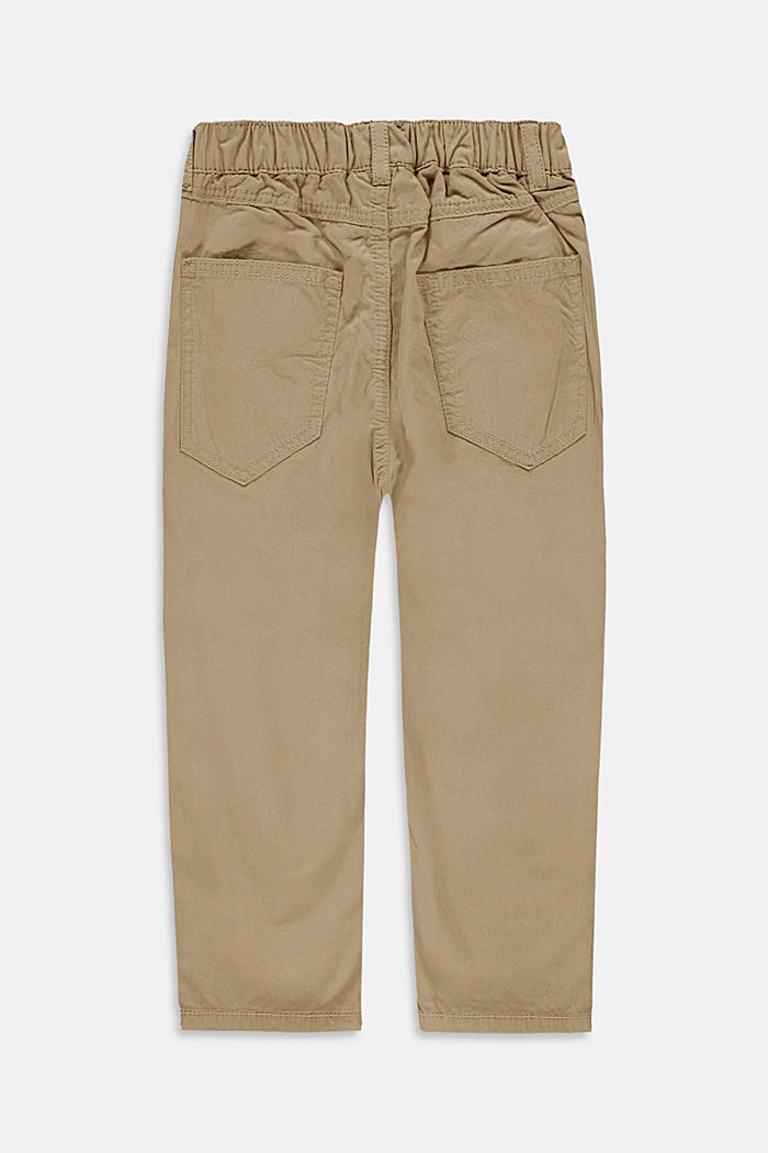 Trousers with an elasticated waistband, 100% cotton, BEIGE, detail image number 2