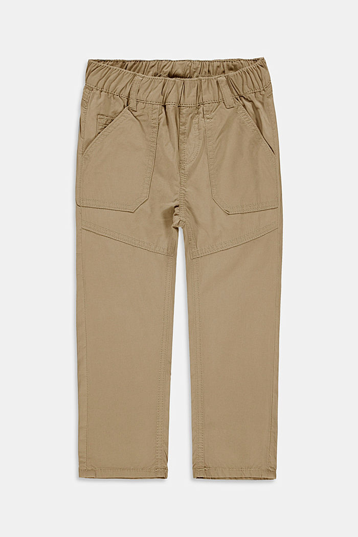 Trousers with an elasticated waistband, 100% cotton, BEIGE, detail image number 0