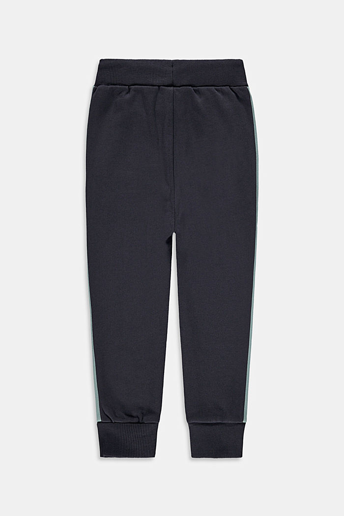 Sweatshirt tracksuit bottoms with stripes, 100% cotton, DARK GREY, detail image number 1