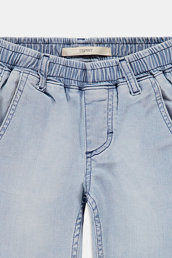 Denim short van elastisch katoen, BLUE BLEACHED, detail image number 2