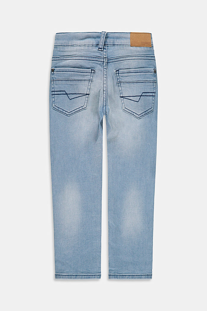 Slim-fitting cotton jeans with an adjustable waistband, BLUE BLEACHED, detail image number 1