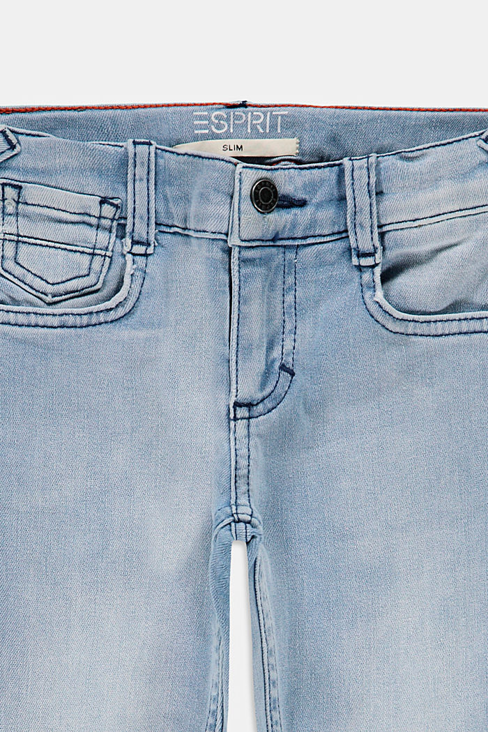Slim-fitting cotton jeans with an adjustable waistband, BLUE BLEACHED, detail image number 2