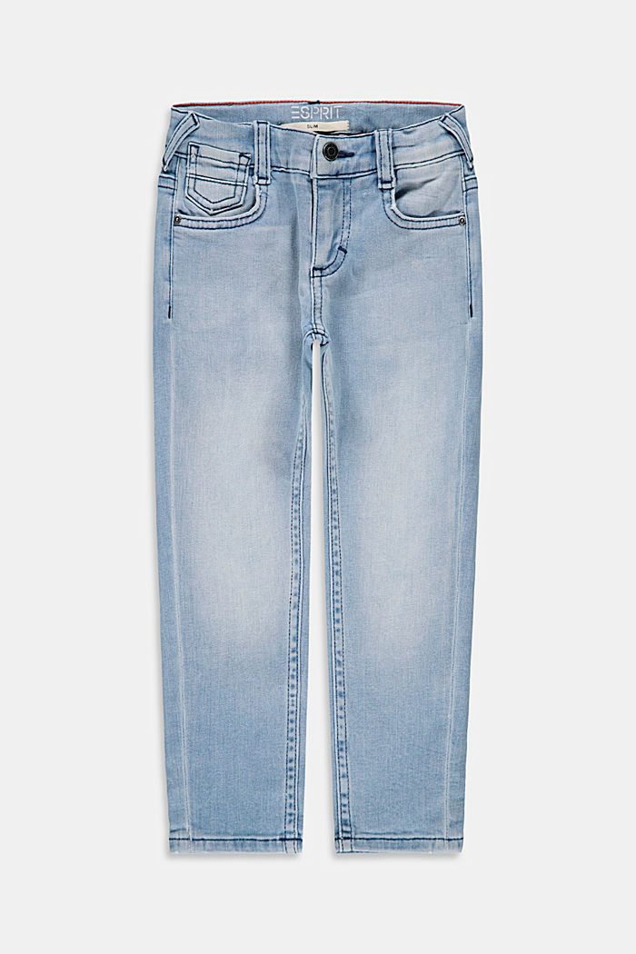 Slim-fitting cotton jeans with an adjustable waistband, BLUE BLEACHED, detail image number 0