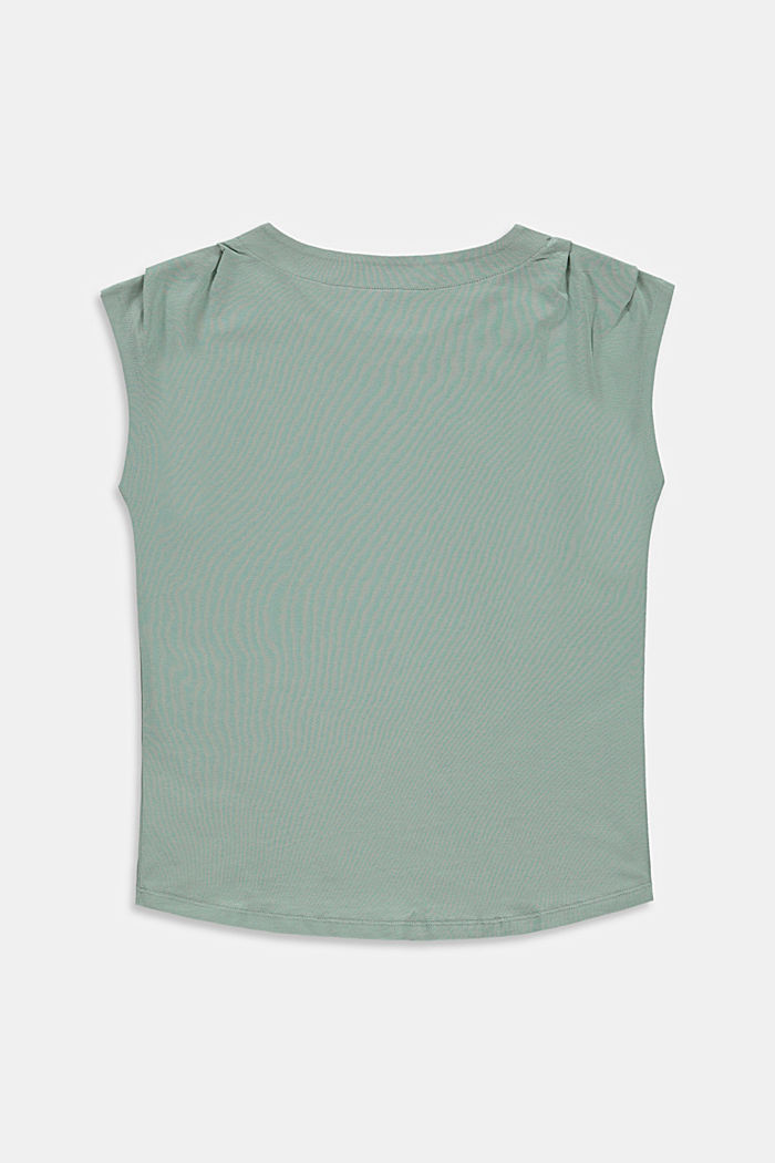 Print top in stretch cotton, KHAKI GREEN, detail image number 1