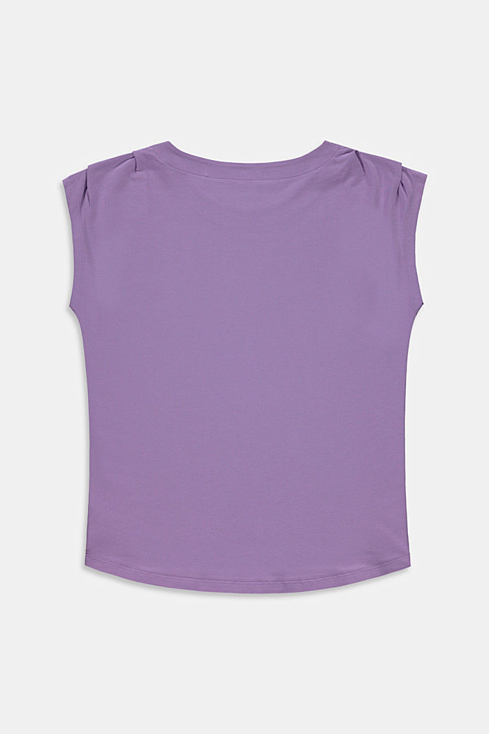 Print top in stretch cotton, LAVENDER, detail image number 1