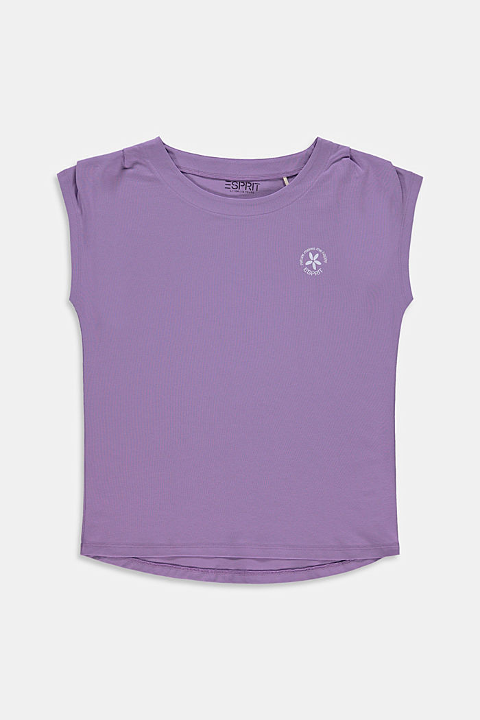 Print top in stretch cotton, LAVENDER, detail image number 0