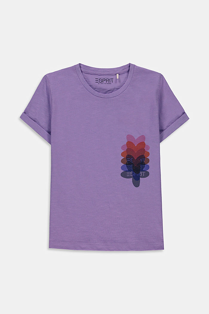 Melange T-shirt with a flower print, LAVENDER, overview