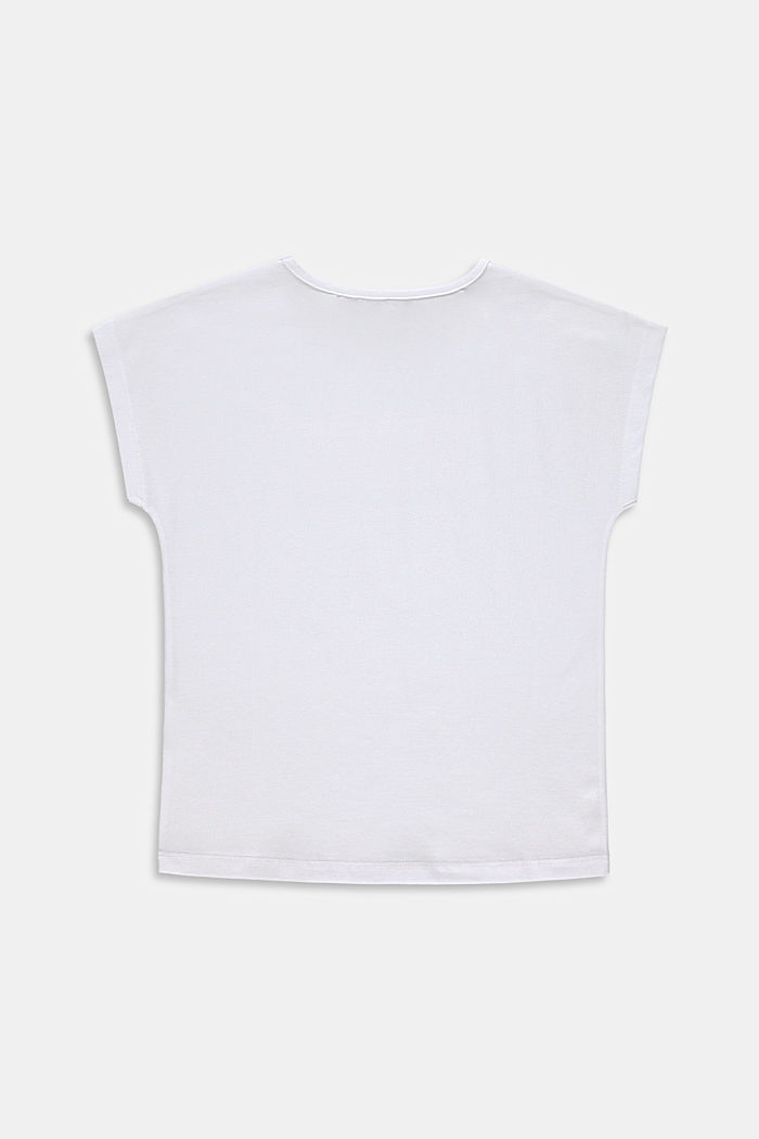 Printed T-shirt in stretch cotton, WHITE, detail image number 1