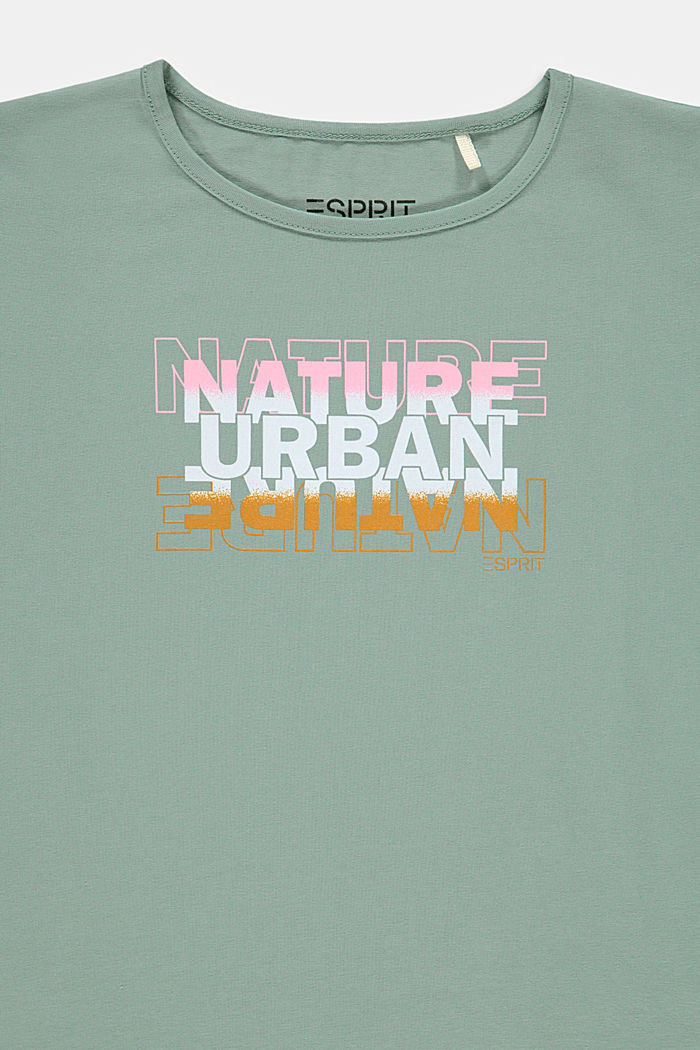 Printed T-shirt in stretch cotton, KHAKI GREEN, detail image number 2