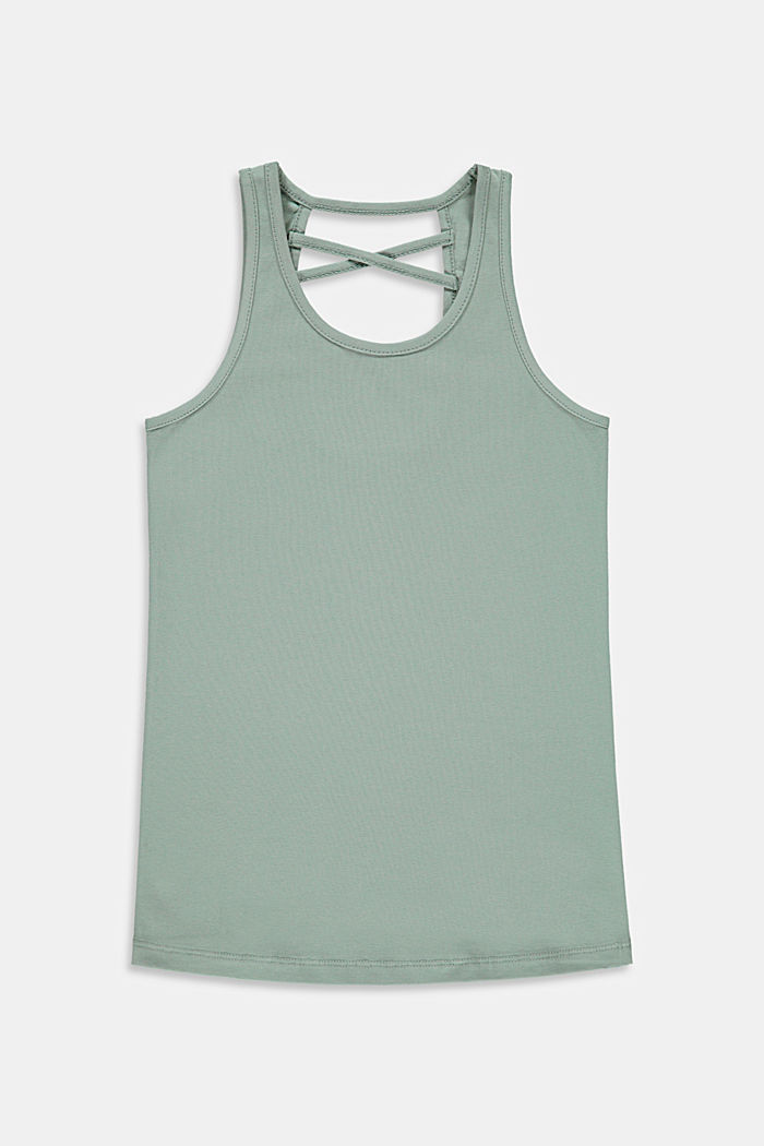 Top with a cross-over straps, stretch cotton, KHAKI GREEN, detail image number 0