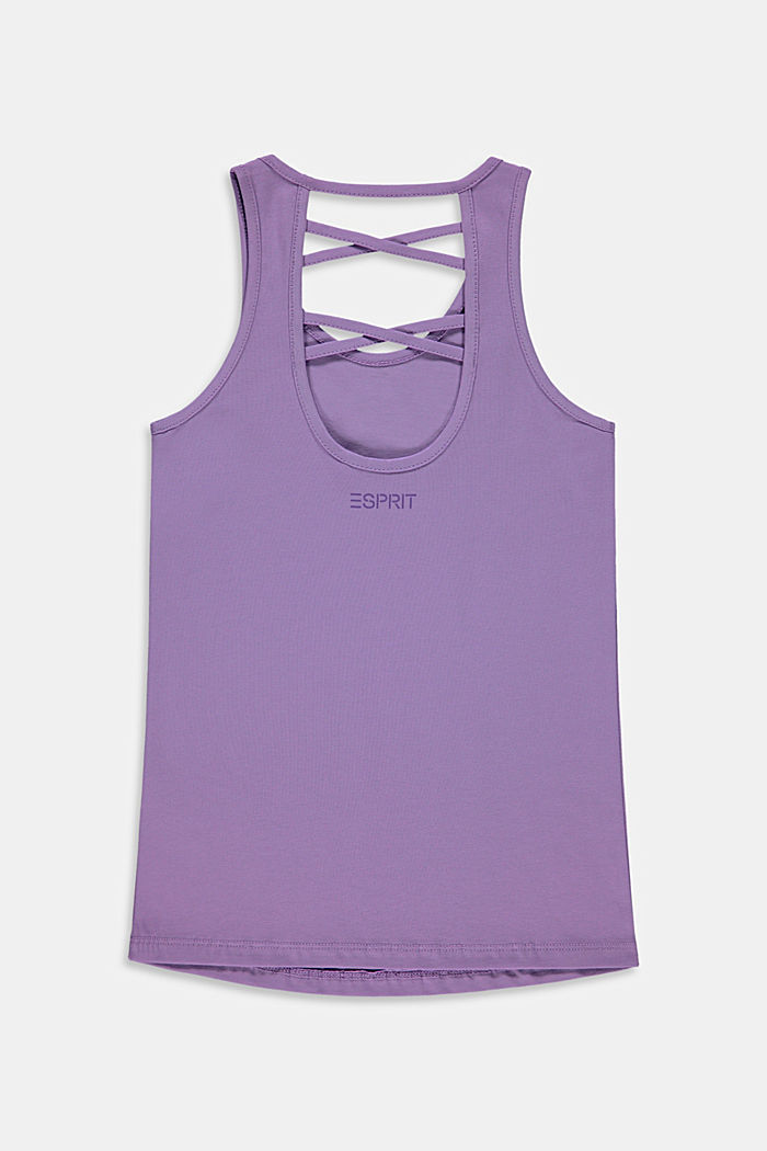 Top with a cross-over straps, stretch cotton, LAVENDER, detail image number 1