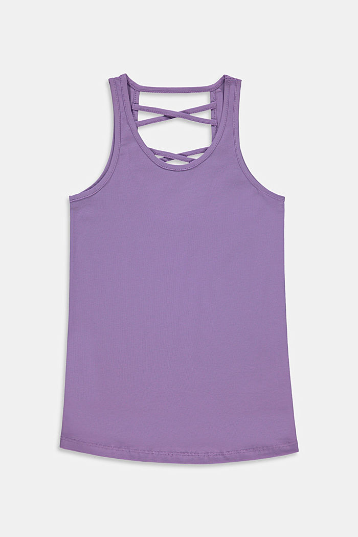 Top with a cross-over straps, stretch cotton, LAVENDER, detail image number 0