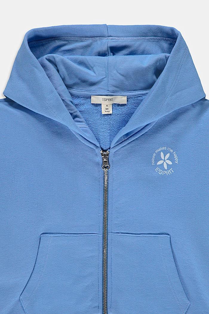 Cropped sweatshirt jacket in 100% cotton, LIGHT BLUE LAVENDER, detail image number 2