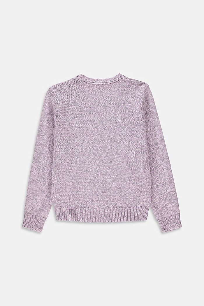 Cropped mouliné cardigan in 100% cotton