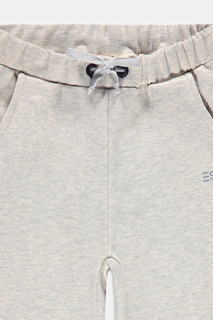 Melange sweatshirt fabric trousers made of 100% cotton, SILVER, detail image number 2