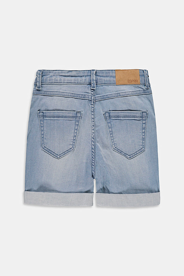 Denim shorts with a high adjustable waistband