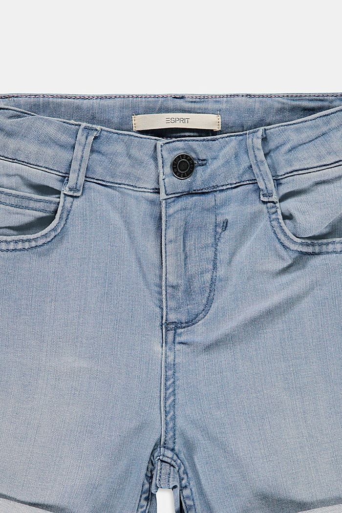 Shorts vaqueros con cintura alta ajustable, BLUE BLEACHED, detail image number 2