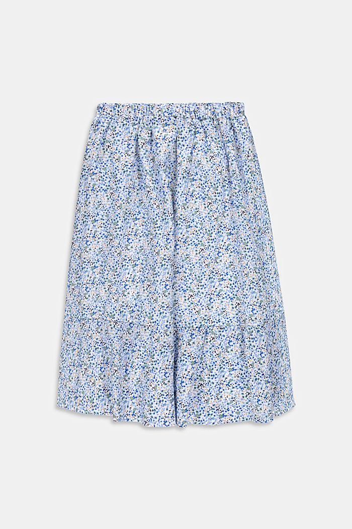 Mille-fleurs midi skirt made of 100% cotton, WHITE, detail image number 1