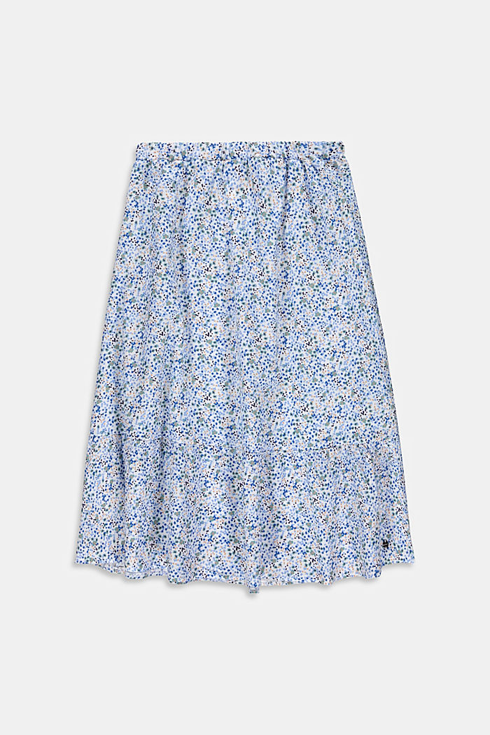 Mille-fleurs midi skirt made of 100% cotton, WHITE, detail image number 0