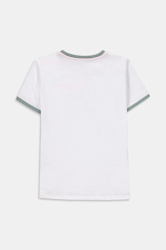 Graphically printed T-shirt, 100% cotton, WHITE, detail image number 1