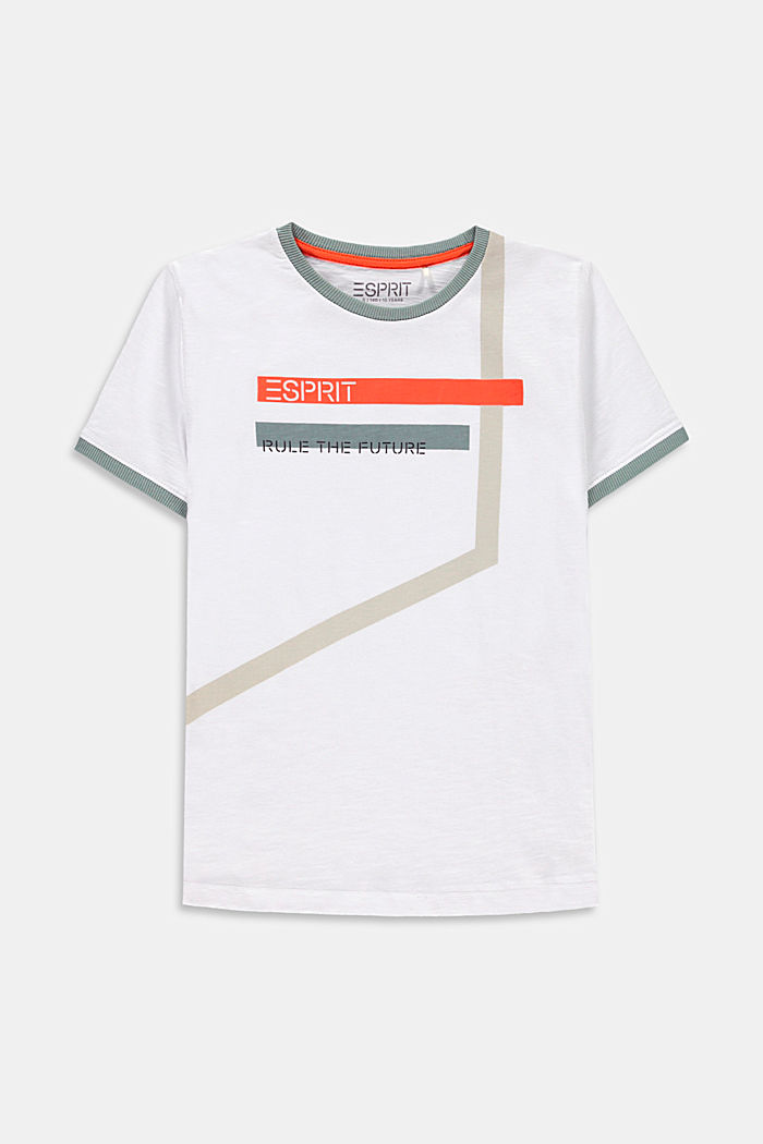 Graphically printed T-shirt, 100% cotton, WHITE, detail image number 0