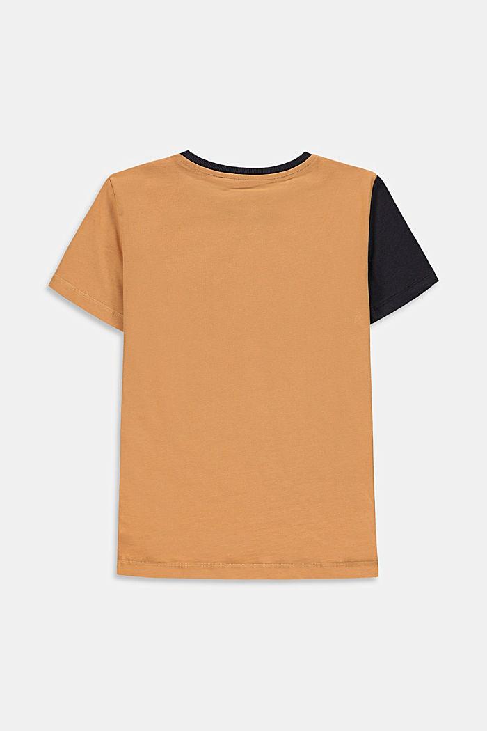 T-shirt à rayures colour blocking et poche, CARAMEL, detail image number 1